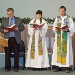 2017 WPCU: Opening Service at Redeemer Lutheran Church, with Prairie Centre for Ecumenism Exec. Director,  Dr. Darren Dahl; Rev. Emily Carr (Anglican); Pastor Kirk Tastad (Lutheran).